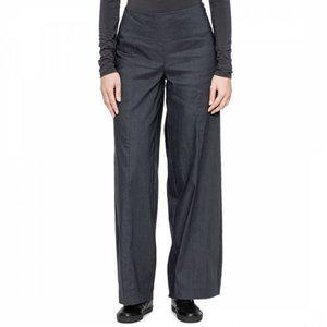 Sarah Pacini Maité Stretch Linen Blend Shimmering Wide Leg Grey Pants